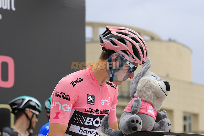 Race leader Maglia Rosa wearer Lukas Postlberger (AUT) Bora-Hansgrohe at sign on before Stage 2 of the 100th edition of the Giro d'Italia 2017, running 221km from Olbia to Tortoli, Sardinia, Italy. 6th May 2017.<br /> Picture: Ann Clarke   Cyclefile<br /> <br /> <br /> All photos usage must carry mandatory copyright credit (© Cyclefile   Ann Clarke)