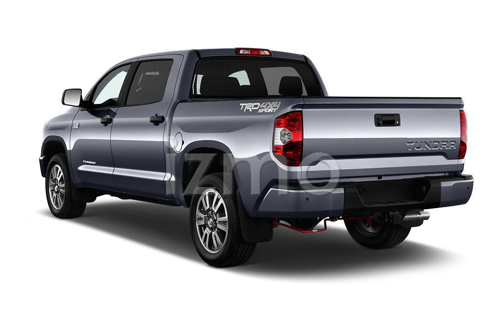 Car pictures of rear three quarter view of a 2018 Toyota Tundra TRD Sport Crew Cab 4 Door Pick Up angular rear