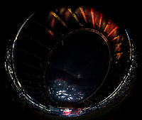 25 March 2019: The interior of the Olympic Stadium in Montreal is illuminated with a light show during pre-game ceremonies commemorating the 50-year anniversary of the Expos prior to an exhibition game between the Toronto Blue Jays and the Milwaukee Brewers at Olympic Stadium in Montreal, Quebec, Canada. The Brewers defeated the Blue Jays 10-5 in the first of two MLB pre-season games in the former home of the Montreal Expos. Mandatory Credit: Ed Wolfstein Photo *** RAW (NEF) Image File Available ***