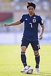Shibasaki Gaku of Japan runs with the ball during the AFC Asian Cup UAE 2019 Group F match between Japan (JPN) and Turkmenistan (TKM) at Al Nahyan Stadium on 09 January 2019 in Abu Dhabi, United Arab Emirates. Photo by Marcio Rodrigo Machado / Power Sport Images