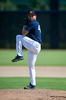 GCL Astros pitcher Chandler Casey (46) throws a bullpen before a Gulf Coast League game against the GCL Nationals on August 9, 2019 at FITTEAM Ballpark of the Palm Beaches training complex in Palm Beach, Florida.  GCL Nationals defeated the GCL Astros 8-2.  (Mike Janes/Four Seam Images)