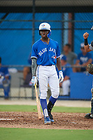 GCL Blue Jays Dasan Brown (40) bats during a Gulf Coast League game against the GCL Tigers West on August 3, 2019 at the Englebert Complex in Dunedin, Florida.  GCL Blue Jays defeated the GCL Tigers West 4-3.  (Mike Janes/Four Seam Images)