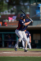 Lancaster JetHawks center fielder Forrest Wall (7) at bat during a California League game against the Inland Empire 66ers at San Manuel Stadium on May 20, 2018 in San Bernardino, California. Inland Empire defeated Lancaster 12-2. (Zachary Lucy/Four Seam Images)