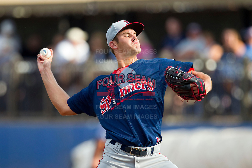 Lowell Spinners starting pitcher Madison Younginer (38) in action against the Hudson Valley Renegades at Dutchess Stadium on August 12, 2012 in Wappingers Falls, New York.  (Brian Westerholt/Four Seam Images)