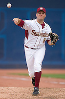 Jack Posey #5 of the Florida State Seminoles warms up in the bullpen at Durham Bulls Athletic Park May 23, 2009 in Durham, North Carolina.  (Photo by Brian Westerholt / Four Seam Images)