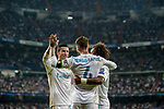 Sergio Ramos (c) of Real Madrid celebrates with teammates Marcelo Vieira Da Silva (r) and Cristiano Ronaldo during the UEFA Champions League 2017-18 match between Real Madrid and APOEL FC at Estadio Santiago Bernabeu on 13 September 2017 in Madrid, Spain. Photo by Diego Gonzalez / Power Sport Images