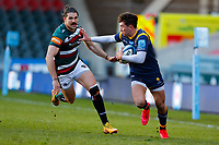 6th February 2021; Mattoli Woods Welford Road Stadium, Leicester, Midlands, England; Premiership Rugby, Leicester Tigers versus Worcester Warriors; Perry Humphreys of Worcester Warriors hands off Kobus van Wyk of Leicester Tigers