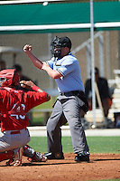 Umpire Tyler Thurmond during the first game of a doubleheader between the GCL Marlins and GCL Marlins on August 13, 2016 at Roger Dean Complex in Jupiter, Florida.  GCL Cardinals defeated GCL Marlins 4-2 in a continuation of a game originally started on August 8th.  (Mike Janes/Four Seam Images)