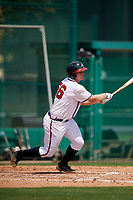 GCL Braves first baseman Mason Berne (56) follows through on a swing during the first game of a doubleheader against the GCL Yankees West on July 30, 2018 at Champion Stadium in Kissimmee, Florida.  GCL Yankees West defeated GCL Braves 7-5.  (Mike Janes/Four Seam Images)
