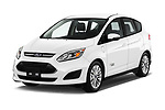 2018 Ford C-Max PHEV SE 5 Door Mini Van angular front stock photos of front three quarter view