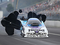 Sep 27, 2020; Gainesville, Florida, USA; NHRA funny car driver Blake Alexander during the Gatornationals at Gainesville Raceway. Mandatory Credit: Mark J. Rebilas-USA TODAY Sports