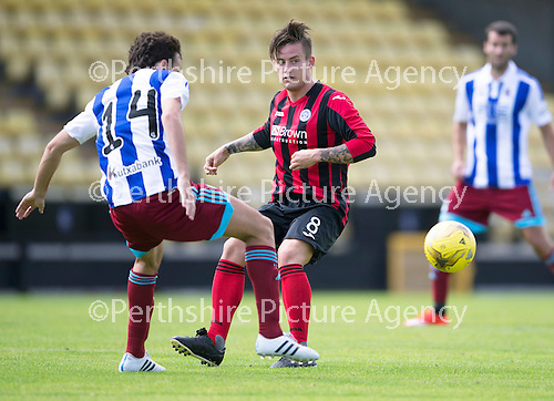 St Johnstone v Real Sociadad...12.07.15  Bayview, Methil (Home of East Fife FC)<br /> Saints trilaist Rhys McCabe with Ruben Pardo<br /> Picture by Graeme Hart.<br /> Copyright Perthshire Picture Agency<br /> Tel: 01738 623350  Mobile: 07990 594431