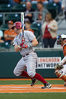 Oklahoma Sooners outfielder Max White #7 follows through on his swing against the Texas Longhorns in the NCAA baseball game on April 5, 2013 at UFCU DischFalk Field in Austin Texas. Oklahoma defeated Texas 2-1. (Andrew Woolley/Four Seam Images).