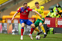 20th March 2021; Carrow Road, Norwich, Norfolk, England, English Football League Championship Football, Norwich versus Blackburn Rovers; Jacob Lungi Sorensen of Norwich City takes on Sam Gallagher of Blackburn Rovers