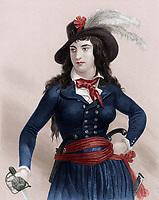 Anne-Joseph Mericourt dite Theroigne de Mericourt (1762-1817) elle fut la maitresse du marquis de Persan puis au cours de la Revolution Francaise elle prit part a la prise de la Bastille et a la Marche des femmes sur Versailles le 5 octobre 1789, gravure par Bosselman d'apres Raffet --- Anne Joseph Mericourt dite Theroigne de Mericourt (1762-1817) mistress of the Marquis de Persan she stormed the Bastille and participated to the women 's March For Bread  ton Versailles October 5, 1789 during french Revolution, engraving by Bosselman after Raffet colorized document