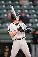 Outfielder Kyle Jacobsen (6) of the South Carolina Gamecocks takes batting practice before the Reedy River Rivalry game against the Clemson Tigers on Saturday, March 3, 2018, at Fluor Field at the West End in Greenville, South Carolina. Clemson won, 5-1. (Tom Priddy/Four Seam Images)