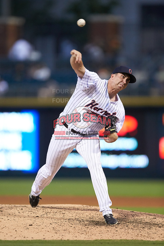 Charlotte Hornets relief pitcher Zach Thompson (32) in action against the Louisville Bats at BB&T BallPark on June 22, 2019 in Charlotte, North Carolina. The Hornets defeated the Bats 7-6. (Brian Westerholt/Four Seam Images)
