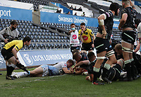24th April 2021; Liberty Stadium, Swansea, Glamorgan, Wales; Rainbow Cup Rugby, Ospreys versus Cardiff Blues; Ifan Phillips of Ospreys scores his sides fourth try of the match to make the score 24-0