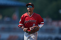 Rochester Red Wings shortstop Jecksson Flores (8) jogs off the field between innings of the game against the Scranton/Wilkes-Barre RailRiders at PNC Field on July 25, 2021 in Moosic, Pennsylvania. (Brian Westerholt/Four Seam Images)