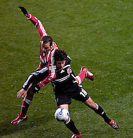 Chicago Fire forward Cuauhtemoc Blanco (10)fights for the ball with D.C. United defender Devon McTavish (18). The Chicago Fire defeated D. C. United 1-0 during the first leg of the MLS Eastern Conference Semifinal Series at Toyota Park in Bridgeview, IL, on October 25, 2007.