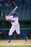 South Bend Cubs third baseman Adonis Paula (5) at bat during the second game of a doubleheader against the Peoria Chiefs on July 25, 2016 at Four Winds Field in South Bend, Indiana.  South Bend defeated Peoria 9-2.  (Mike Janes/Four Seam Images)