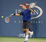 Phillip Kohlschreiber (GER)  battles Rafael Nadal (ESP) at the US Open being played at USTA Billie Jean King National Tennis Center in Flushing, NY on September 2, 2013