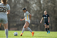 LOUISVILLE, KY - MARCH 13: Stefany Ferrer-vanGinkel #21 of West Virginia University passes the ball during a game between West Virginia University and Racing Louisville FC at Thurman Hutchins Park on March 13, 2021 in Louisville, Kentucky.
