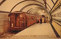 London:  London Underground Postcard, c. 1907.  Piccadilly Circus Station Platform with original gate stock car.