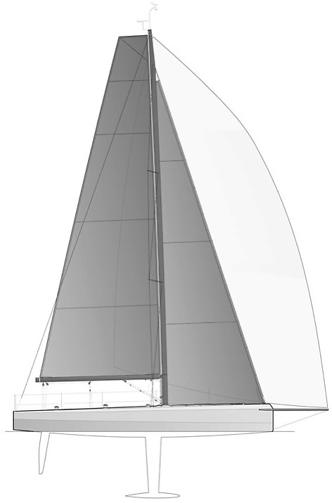 Cape 31 - The low freeboard aggressively chined hull shape that maximises form stability in a breeze but enjoys low wetted surface when upright. Plans courtesy Mills Design