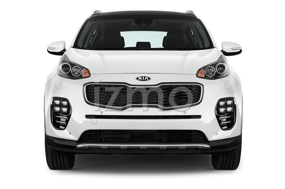 Car photography straight front view of a 2016 KIA Sportage GT-Line 5 Door Suv Front View
