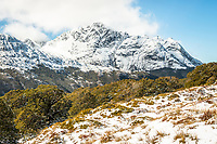 Jean Batten Peak 1,971m of Aisla Mountains, Fiordland National Park, UNESCO World Heritage Area, Southland, New Zealand, NZ