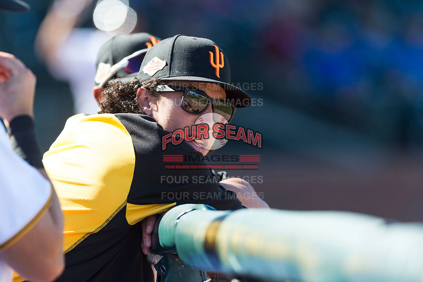 Surprise Saguaros infielder Cole Tucker (2), of the Pittsburgh Pirates organization, in the dugout during an Arizona Fall League game against the Peoria Javelinas at Surprise Stadium on October 17, 2018 in Surprise, Arizona. (Zachary Lucy/Four Seam Images)