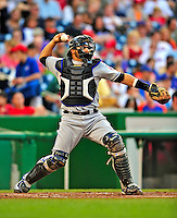6 June 2009: New York Mets' catcher Omir Santos in action against the Washington Nationals at Nationals Park in Washington, DC. The Mets fell to the Nationals 7-1 as Nats' starting pitcher John Lannan tossed his first career complete-game win. Mandatory Credit: Ed Wolfstein Photo