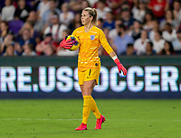ORLANDO, FL - MARCH 05: Carly Telford #1 of England holds the ball during a game between England and USWNT at Exploria Stadium on March 05, 2020 in Orlando, Florida.