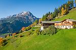 Austria, East-Tyrol, near Matrei in East-Tyrol: farmhouse above Tauern Valley, at background Venediger Group with summit Ochsenbug (3.007 m) | Oesterreich, Osttirol, bei Matrei in Osttirol: Bauerhof oberhalb des Tauerntals, im Hintergrund die Venedigergruppe mit dem Ochsenbug (auch Kristallkopf genannt), 3007 m