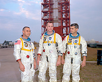 Kennedy Space Center (FLA) USA-Jan 17/1967<br /> <br /> <br /> -<br /> Astronauts (left to right) Gus Grissom, Ed White, and Roger Chaffee, pose in front of Launch Complex 34 which is housing their Saturn 1 launch vehicle. The astronauts later died in a fire on the pad.