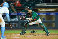 Miami Hurricanes catcher Joe Gomez (40) waits for a throw at home plate during the game against the North Carolina Tar Heels in the second semifinal of the 2017 ACC Baseball Championship at Louisville Slugger Field on May 27, 2017 in Louisville, Kentucky. The Tar Heels defeated the Hurricanes 12-4. (Brian Westerholt/Four Seam Images)