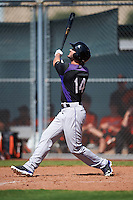 Colorado Rockies Forrest Wall (14) during an Instructional League game against the San Francisco Giants on October 8, 2016 at the Giants Baseball Complex in Scottsdale, Arizona.  (Mike Janes/Four Seam Images)