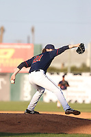 Evan Grills (21) of the Lancaster JetHawks pitches during a game against the San Jose Giants at The Hanger on April 11, 2015 in Lancaster, California. San Jose defeated Lancaster, 8-3. (Larry Goren/Four Seam Images)