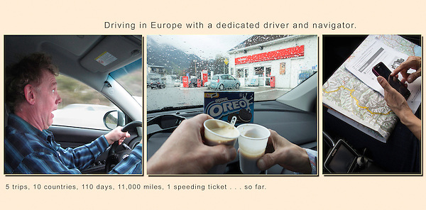 Driving in Europe.  Well, we're now at 6 trips, 12 countries, 135 days and 13,500+ miles. Still, no accidents.  <br /> Europe has far more video camera speed traps than police cars. You'll end up getting your speeding ticket about 6 to 12 months later on your credit card, through your rental car company.