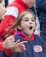 Foxborough, Massachusetts - April 8, 2017: In a Major League Soccer (MLS) match, New England Revolution (blue/white) defeated Houston Dynamo (orange/white), 2-0, at Gillette Stadium.