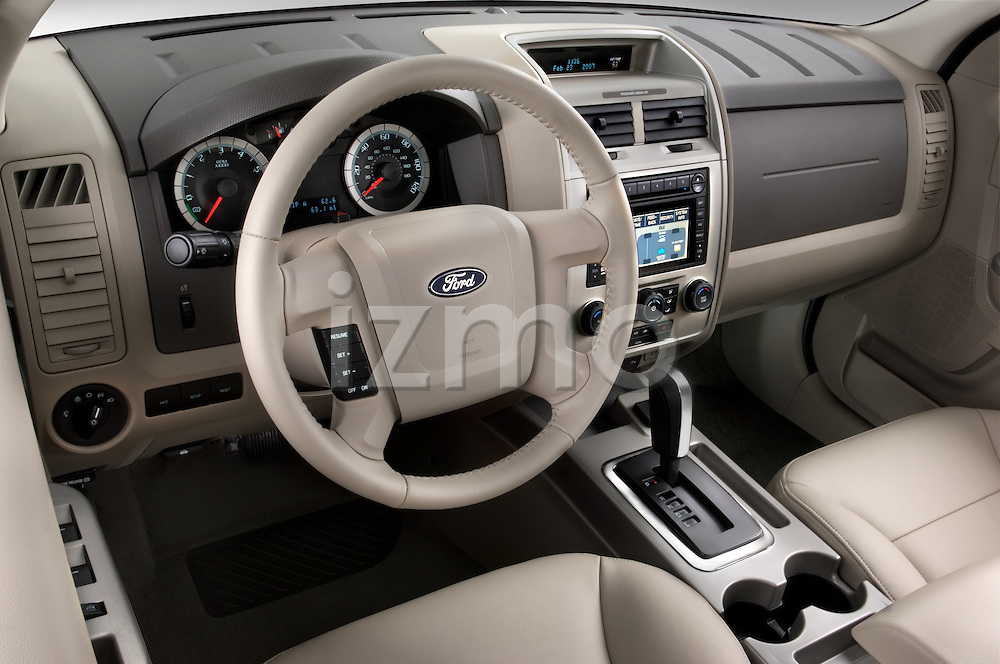 High angle dashboard view of 2008 Ford Escape Hybrid SUV Stock Photo