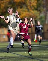 Boston College forward Kristen Mewis (19) blocks cross by Florida State midfielder Rachel Lim (28). Florida State University defeated Boston College, 1-0, at Newton Soccer Field, Newton, MA on October 31, 2010.