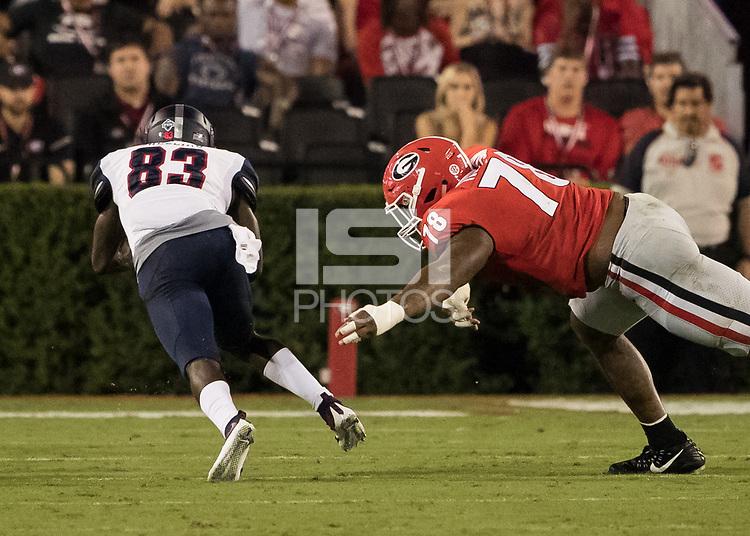 Athens, GA - September 16, 2017: The thirteenth ranked University of Georgia Bulldogs host the Samford Bulldogs at Sanford Stadium.  Final score University of Georgia 42, Samford 14.