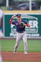Portland Sea Dogs second baseman Brett Netzer (3) throws to first base during an Eastern League game against the Erie SeaWolves on June 17, 2019 at UPMC Park in Erie, Pennsylvania.  Portland defeated Erie 6-3.  (Mike Janes/Four Seam Images)