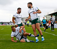 11th September 2021; Galway Greyhound Stadium, Connacht, Galway, Ireland; Pre-season rugby union, Connacht versus London Irish; Matt Williams crosses the try line for London Irish, but the try is disallowed