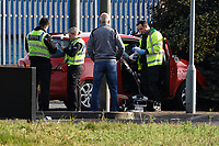 Police and ambulance crews attend a road traffic accident by the roundabout on the junction of the A4067 and B4603 roads near Morriston, Swansea, Wales, UK. Friday 22 February 2019