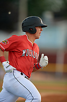 Batavia Muckdogs Peyton Burdick (7) runs to first base during a NY-Penn League game against the Auburn Doubledays on June 14, 2019 at Dwyer Stadium in Batavia, New York.  Batavia defeated 2-0.  (Mike Janes/Four Seam Images)