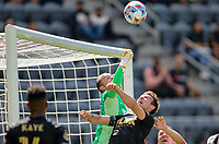 LOS ANGELES, CA - APRIL 17: Brad Stuver #41 of Austin FC punches out a ball during a game between Austin FC and Los Angeles FC at Banc of California Stadium on April 17, 2021 in Los Angeles, California.