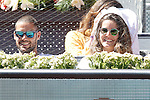 Atletico de Madrid's Mario Suarez with his girlfriend and model Malena Costa during Madrid Open Tennis 2015 match.May, 7, 2015.(ALTERPHOTOS/Acero)